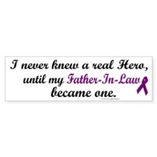 Never Knew A Hero FATHER-IN-LAW (Purple) Bumper Sticker