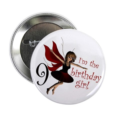 "Birthday Girl 9 Red Fairy 2.25"" Button"