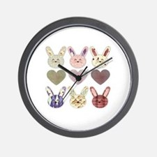 Cute Bunny love Wall Clock