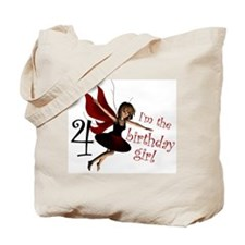 Birthday Girl 4 Red Fairy Tote Bag