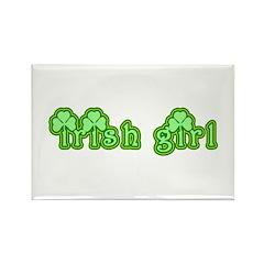 Cute Irish Girl with Shamrocks Rectangle Magnet