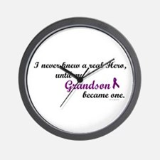 Never Knew A Hero GRANDSON (Purple) Wall Clock