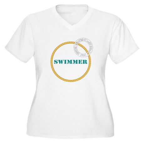 US Coast Guard Swimmer Women's Plus V-Neck Tshirt