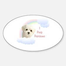 I Poop Rainbows Puppy Oval Decal