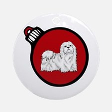Red Maltese Christmas Ornament (Round)