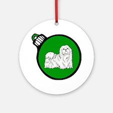Green Maltese Christmas Ornament (Round)
