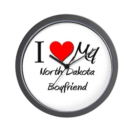 I Love My North Dakota Boyfriend Wall Clock