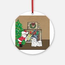 Santa's Gift To A Maltese Ornament (Round)