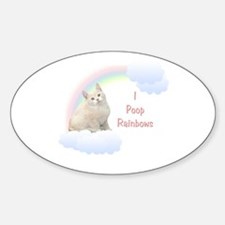 I Poop Rainbows Kitten Oval Decal