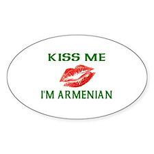 Kiss Me I'm Armenian Oval Decal