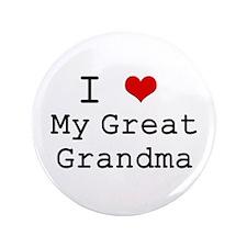 "I Heart My Great Grandma 3.5"" Button"