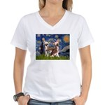 Starry Night / 2Chinese Crest Women's V-Neck T-Shi