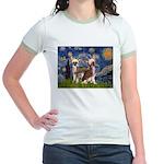 Starry Night / 2Chinese Crest Jr. Ringer T-Shirt