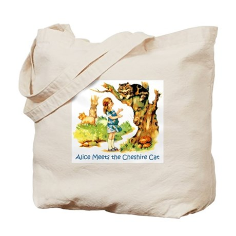 ALICE MEETS THE CHESHIRE CAT Tote Bag
