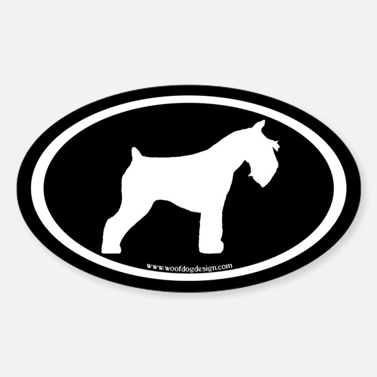Mini Schnauzer Oval (white on blk) Oval Decal