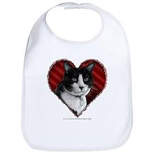 Tuxedo Cat Heart Bib