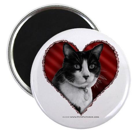 """Tuxedo Cat Heart 2.25"""" Magnet (100 pack)"""
