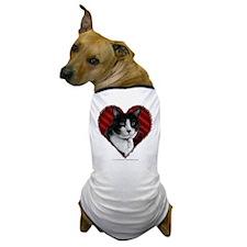 Tuxedo Cat Heart Dog T-Shirt