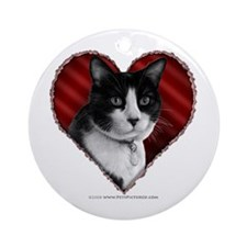 Tuxedo Cat Heart Ornament (Round)