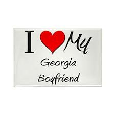 I Love My Georgia Boyfriend Rectangle Magnet