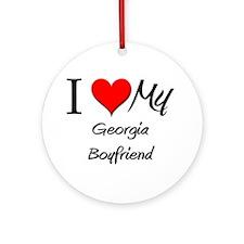 I Love My Georgia Boyfriend Ornament (Round)