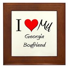 I Love My Georgia Boyfriend Framed Tile