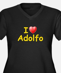 I Love Adolfo (L) Women's Plus Size V-Neck Dark T-