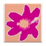 Ceramic Flower Tile Coaster/Trivet (Pink)