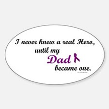 Never Knew A Hero DAD (Purple) Oval Decal