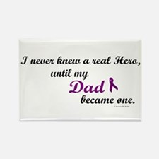 Never Knew A Hero DAD (Purple) Rectangle Magnet