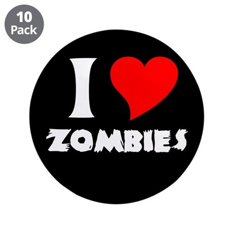 """I heart Zombies 3.5"""" Button (10 pack)"""