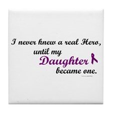 Never Knew A Hero DAUGHTER (Purple) Tile Coaster