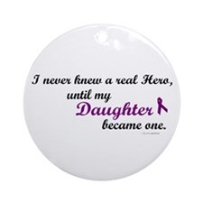 Never Knew A Hero DAUGHTER (Purple) Ornament (Roun