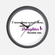 Never Knew A Hero DAUGHTER (Purple) Wall Clock