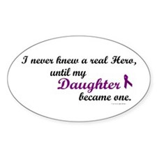 Never Knew A Hero DAUGHTER (Purple) Oval Decal
