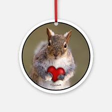Squirrel Valentine Heart Ornament (Round)