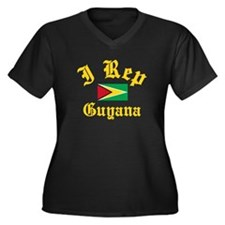 I rep Guyana Women's Plus Size V-Neck Dark T-Shirt