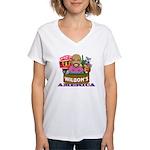 Wilbon's America (FRONT) Women's V-Neck T-Shirt