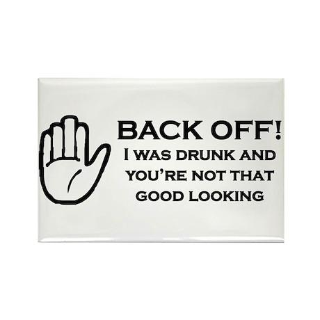 Back Off! Black Rectangle Magnet