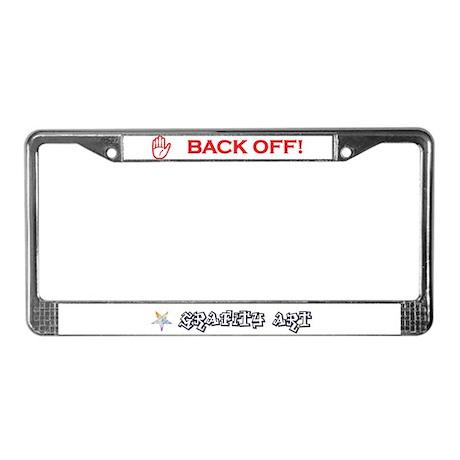 Back Off! Red License Plate Frame