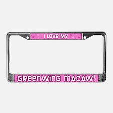Pink Polka Dot Greenwing Macaw License Plate Frame
