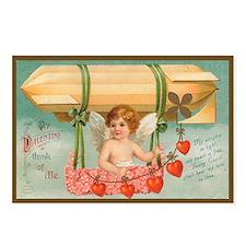Cupid's Balloon Vintage Valentine Postcard- 8 pack