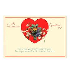 Flower Vintage Valentine Postcards (Pkg of 8)