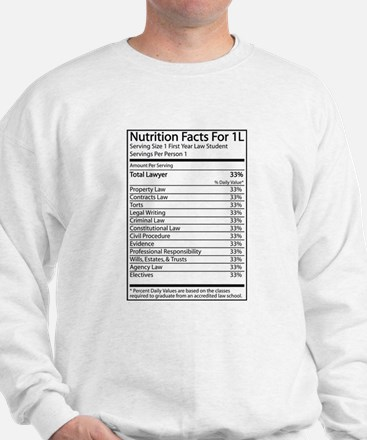 Nutrition Facts For 1L Sweatshirt