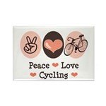 Bicycle Peace Love Cycling Rectangle Magnet
