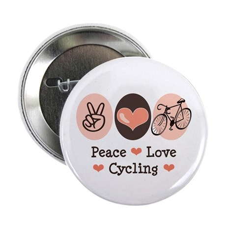 "Bicycle Peace Love Cycling 2.25"" Button (100 pack)"