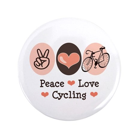 "Bicycle Peace Love Cycling 3.5"" Button (100 pack)"