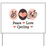 Bicycle Peace Love Cycling Yard Sign