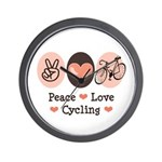 Bicycle Peace Love Cycling Wall Clock