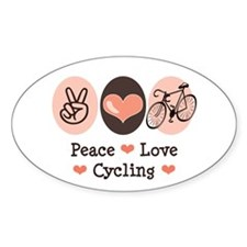 Bicycle Peace Love Cycling Oval Decal